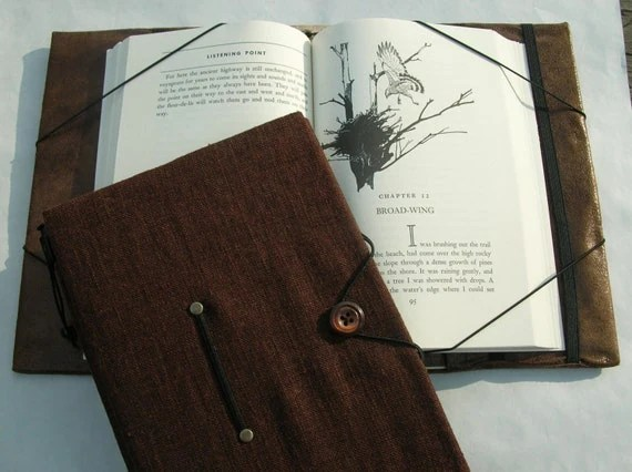 Trade book cover hands free reading book holder dark brown