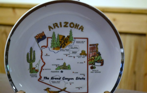 Vintage Souvenir Plate Arizona Travel Kitsch Decor