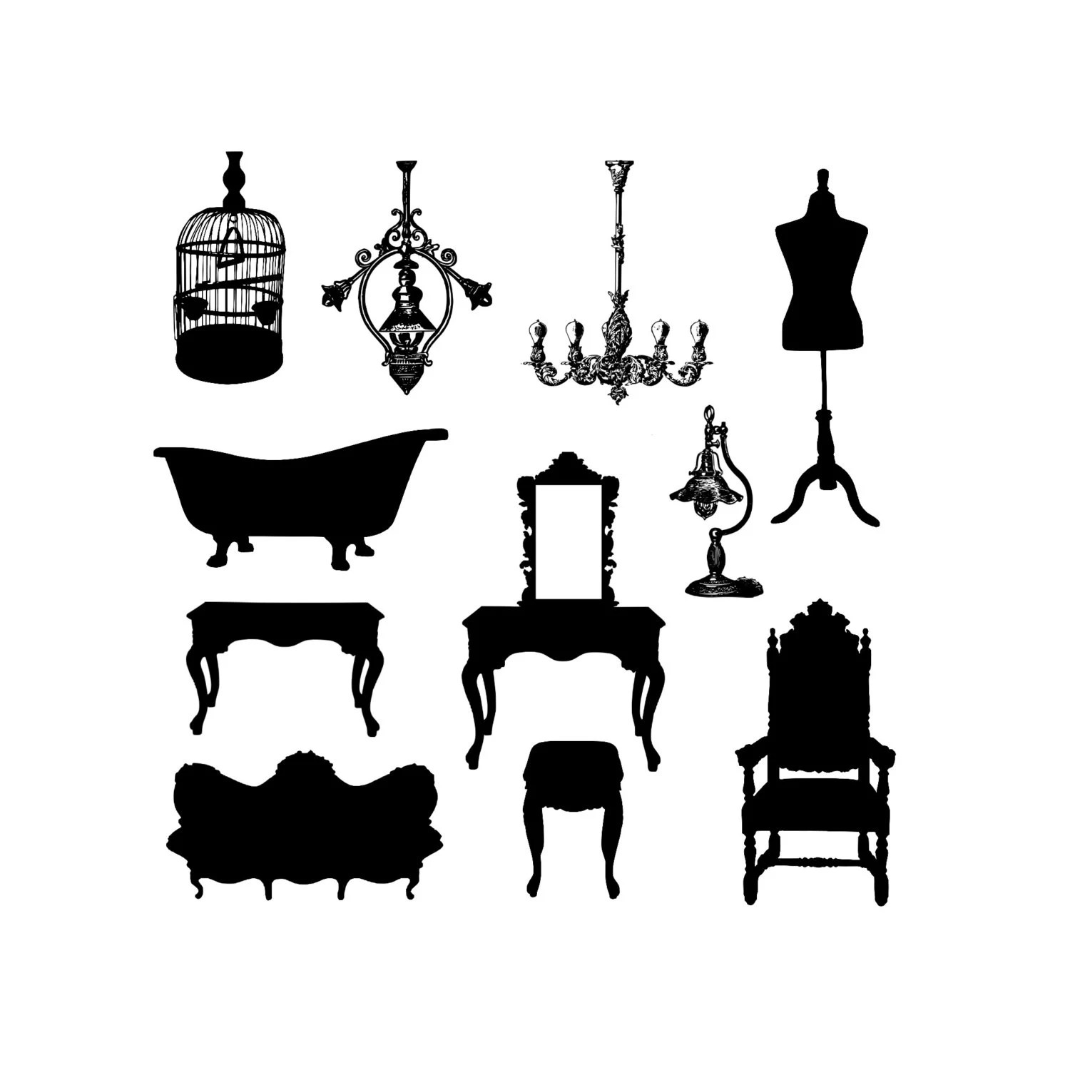 Instant Download Antique Vintage Furniture Silhouette