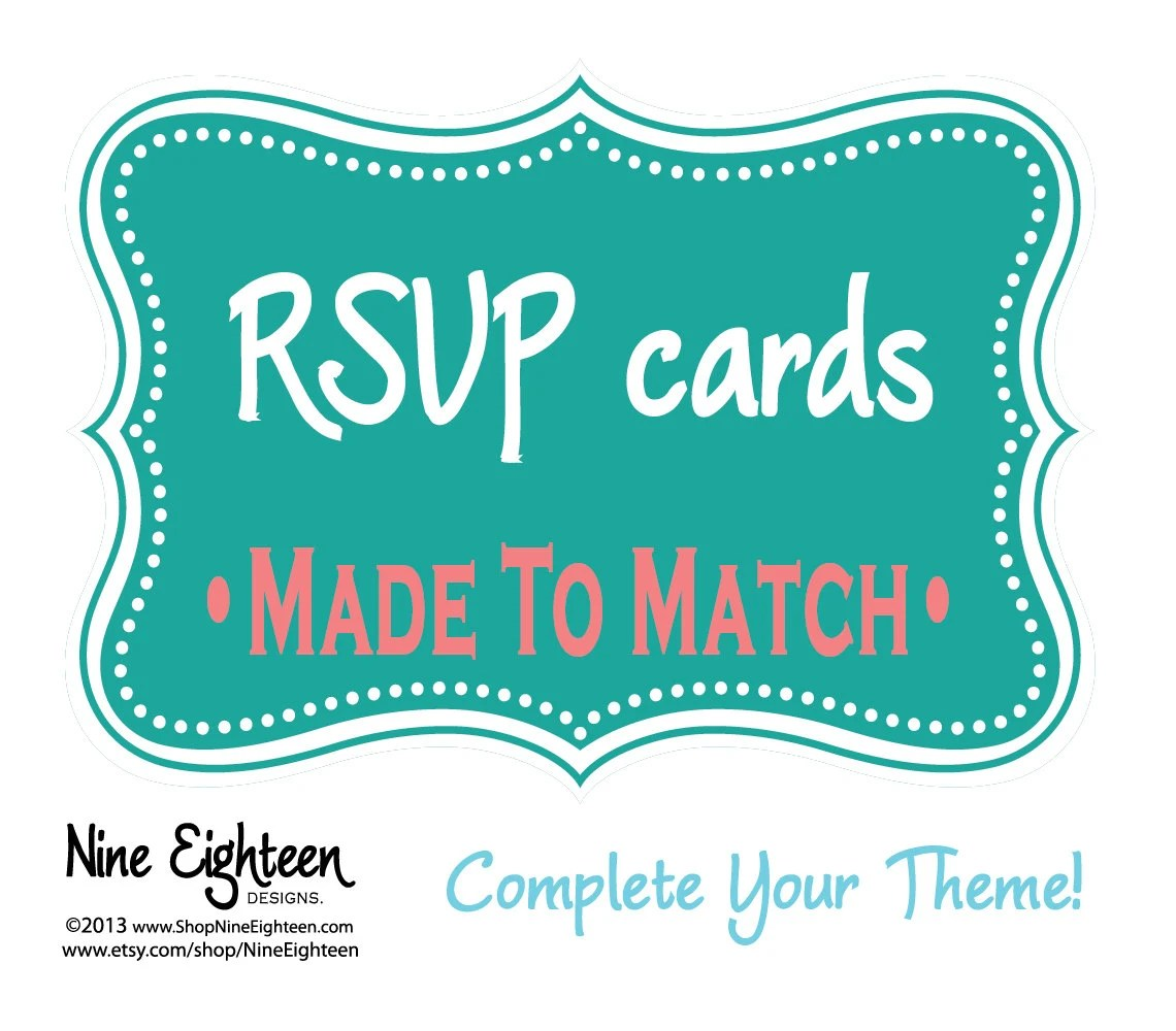 RSVP Cards: Weding Reply Cards Made To Match Your Custom