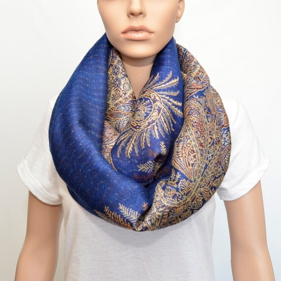 Royal Blue Infinity Scarf with floral Golden Beige pattern
