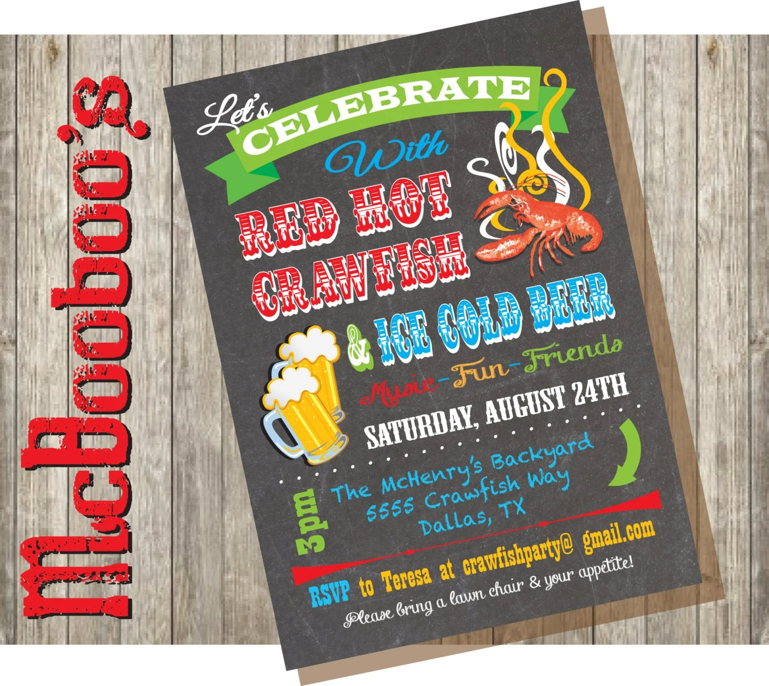 hight resolution of chalkboard crawfish boil party invitations