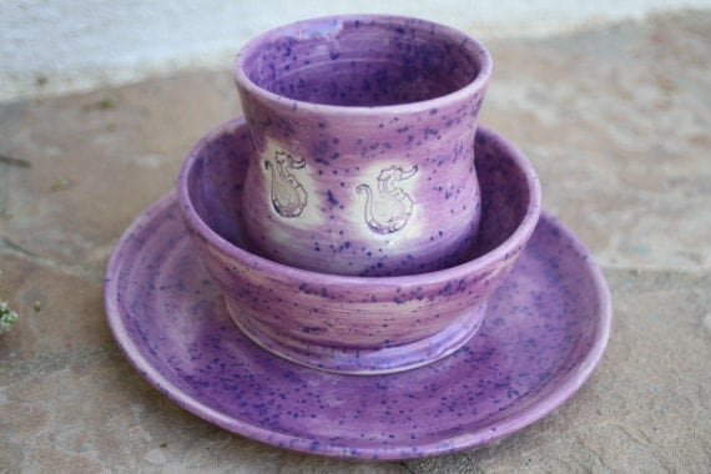 Seahorse Children's Dinnerware Set ceramic kids dinnerware