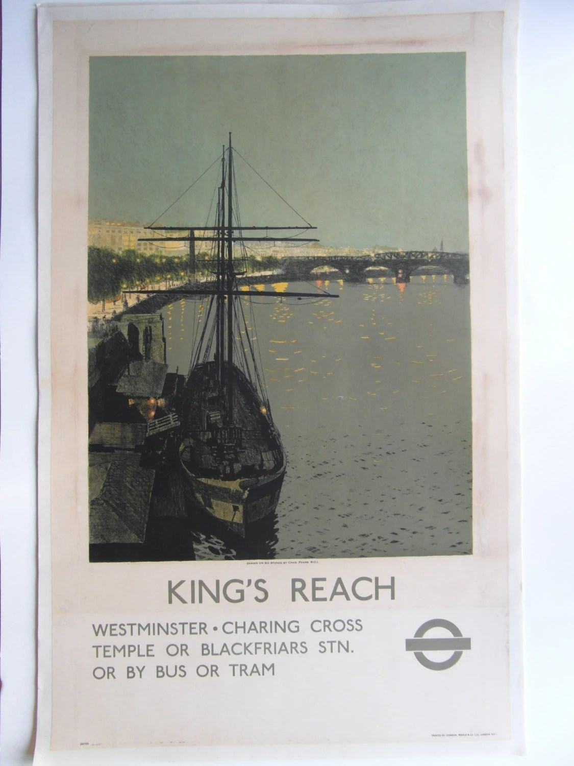 Original 1936 London Underground Poster 'King's Reach' by Charles Pears - VintageLines