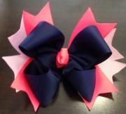 navy hair bow hot pink