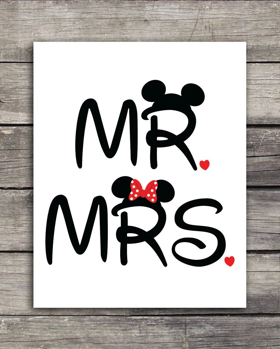 Mr and Mrs Mickey and Minnie Wedding GraphicsUse to print