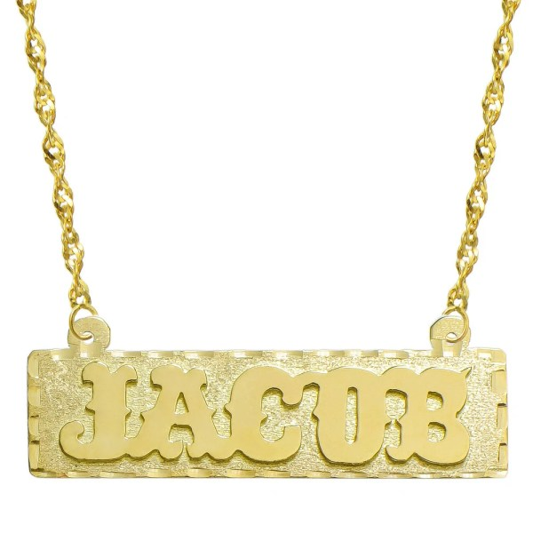 14k Yellow Gold Personalized Plate Necklace Style 4