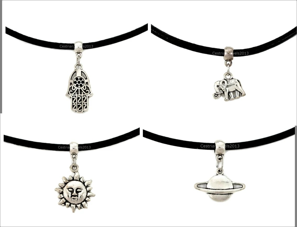 13 Black Leather Cord Choker Necklace Charm By Cestrianjewels