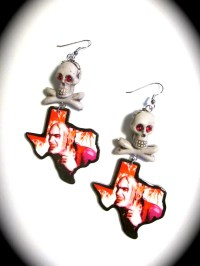 Chop Top Texas Shaped Dangle Earrings with Skull and Cross