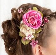 pink hair flower fuchsia wedding