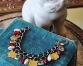 Vintage Cat's Meow Red and Pearl Vintage Charm Bracelet - Vintage Assemblage