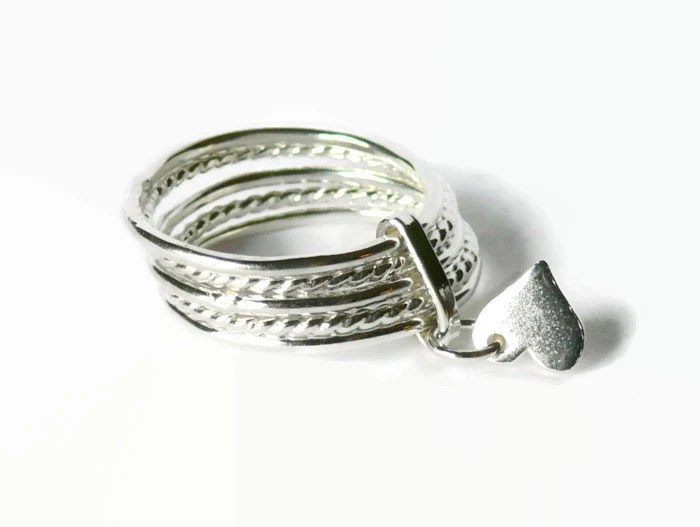 Attached Sterling Silver Stacking Rings Set Silver Heart Ring