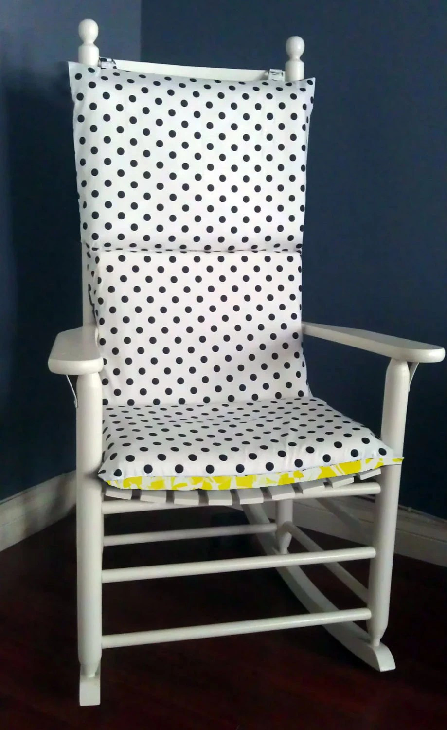 polka dot rocking chair cushions acorn lift parts on sale cushion navy yellow bamboo