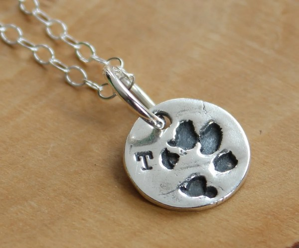 Custom Paw Print Necklace Personalized Charm