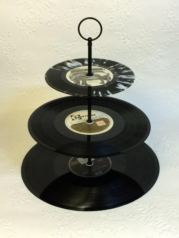 3 Tier Vinyl Record Cupcake Stand Retro Cake Black White