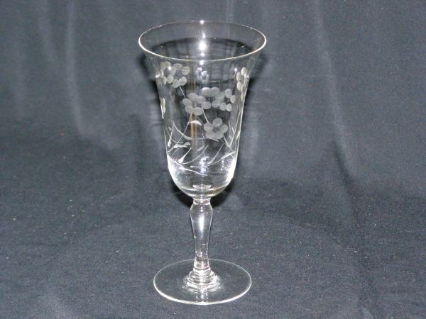 Vintage Wine Glass Etched Floral Pattern Replacement Add