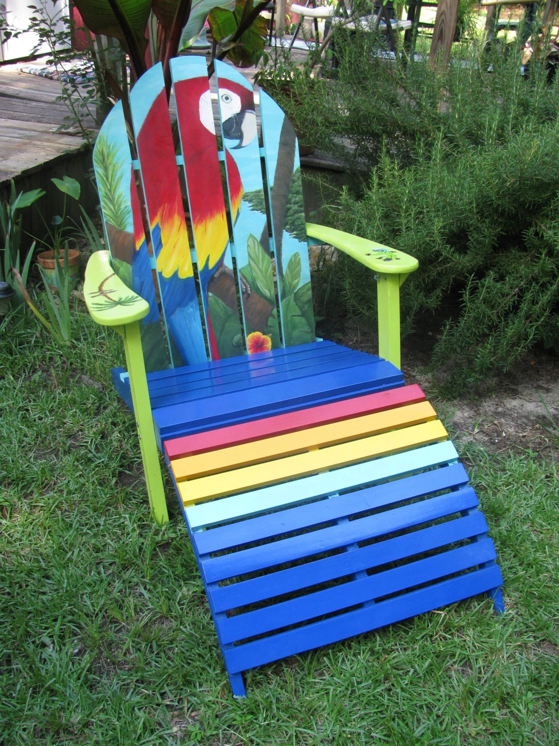 painted adirondack chairs chair design solidworks handpainted ottoman set by handpaintedchairs