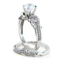 Beautiful Moissanite Engagement Ring Wedding Set Diamond Band