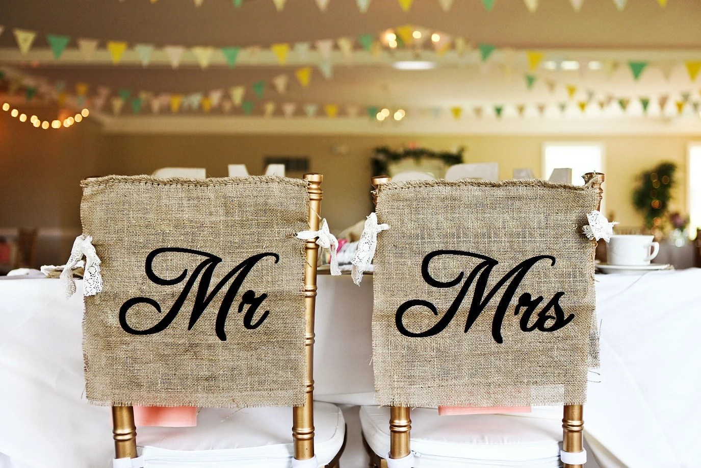 burlap chair covers for folding chairs vintage eames rustic and lace mr mrs wedding cover signs