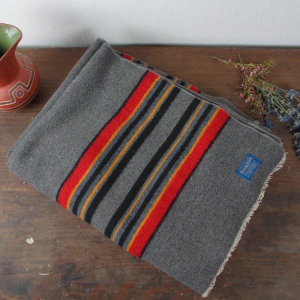 Vintage Pendleton Wool Camp Blanket Stripe Pattern