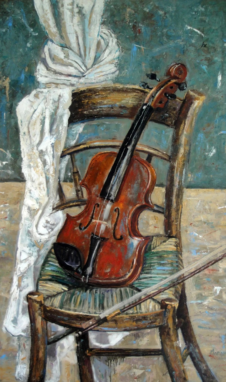 Still Life Oil Painting Original Violin on Chair