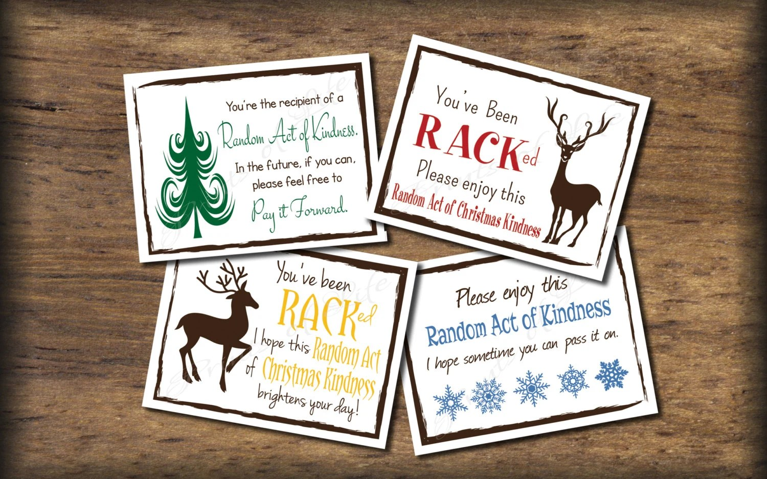 Christmas Random Act Of Kindness Cards Instant Download