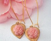 Victorian Style Earrings, Pink Rose Earrings, Brass Heart Earrings - BelleBabette