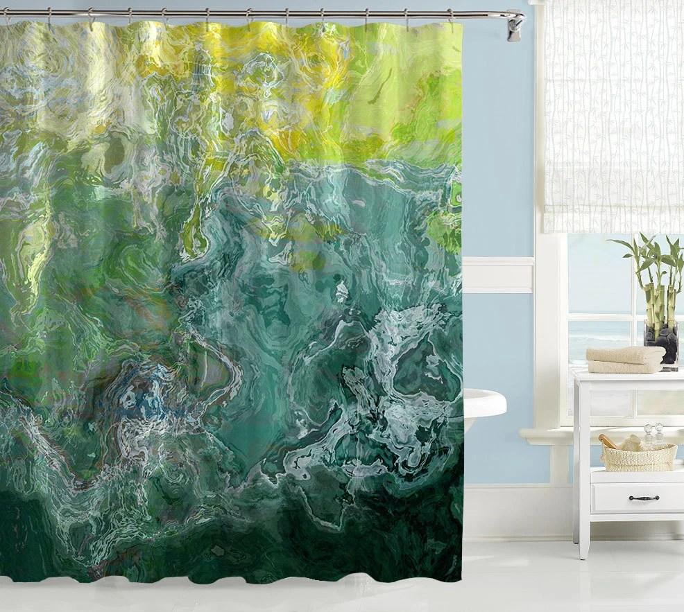 Abstract Shower Curtain Contemporary Bathroom Decor Green