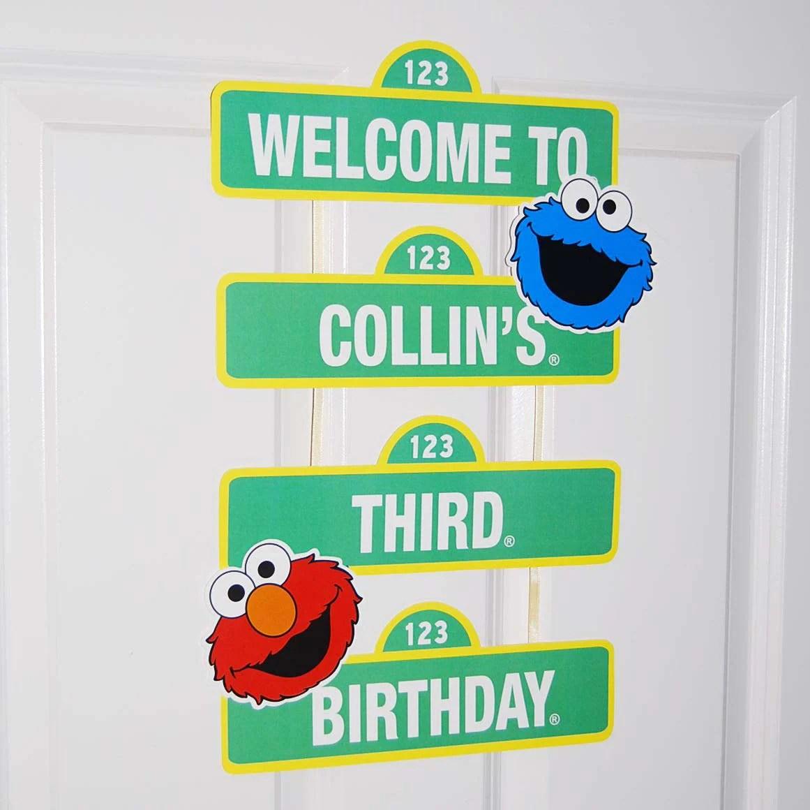 Custom Printable Sesame Street Inspired Birthday Sign