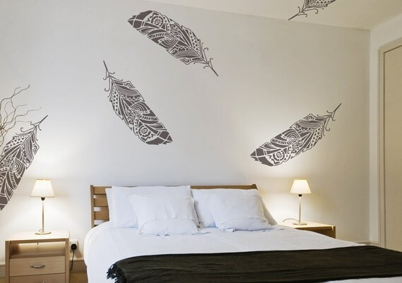 Feathers Wall Stencil Scandinavian Feathers In The Wind