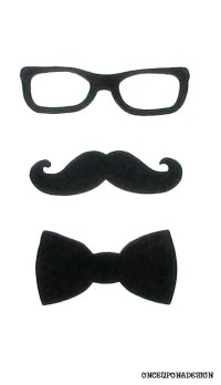 Items similar to Geeky Glasses, Moustache And Bow Tie ...