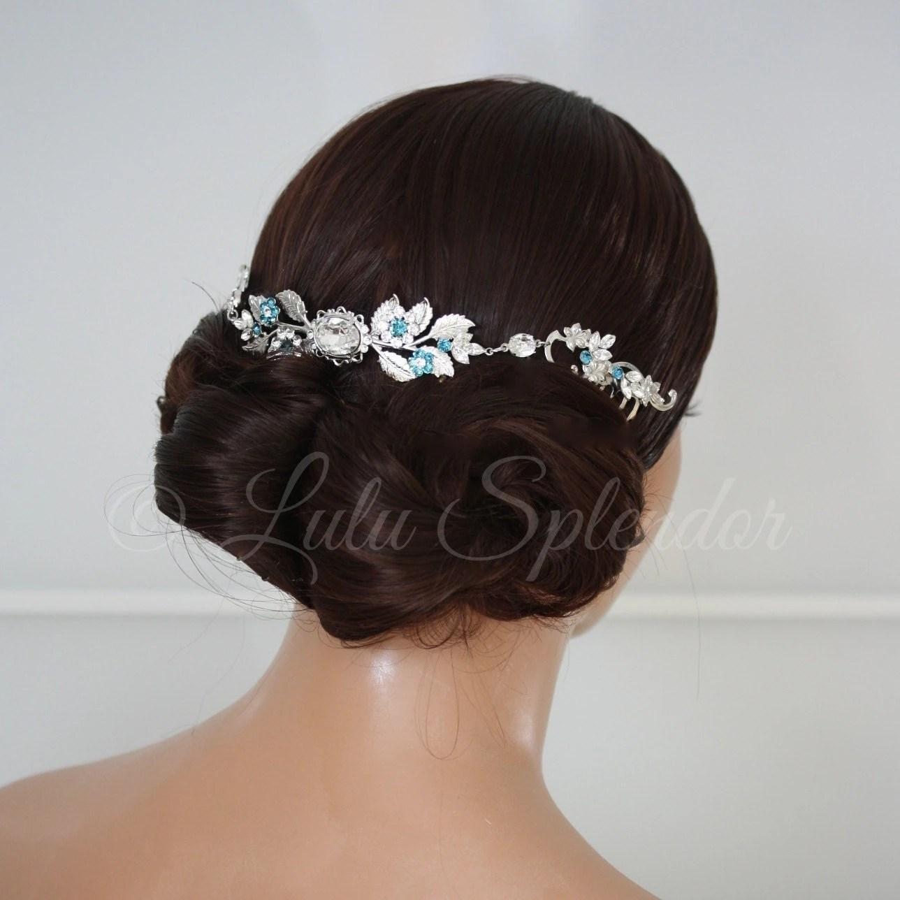 Bridal Crystal Headpiece Teal Blue Wedding Comb By