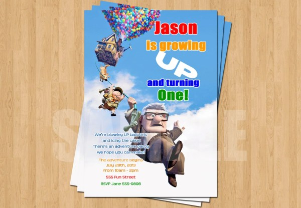 Pixar Up Birthday Invitation