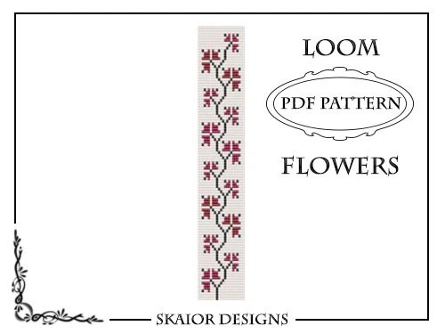 Loom Bead Pattern Flower Bracelet Square Stitch Pattern