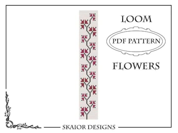 Items similar to Loom Bead Pattern Flower Bracelet Square