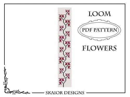 Loom Bead Pattern Flower Bracelet Square Stitch Pattern