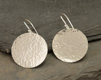 Silver Hammered Disc Earrings- Large Sterling Silver ...