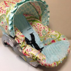 Chair Covers For Baby Massage Pads Chairs Kumari Gardens Fabric And Aqua Minky Infant Car Seat Cover