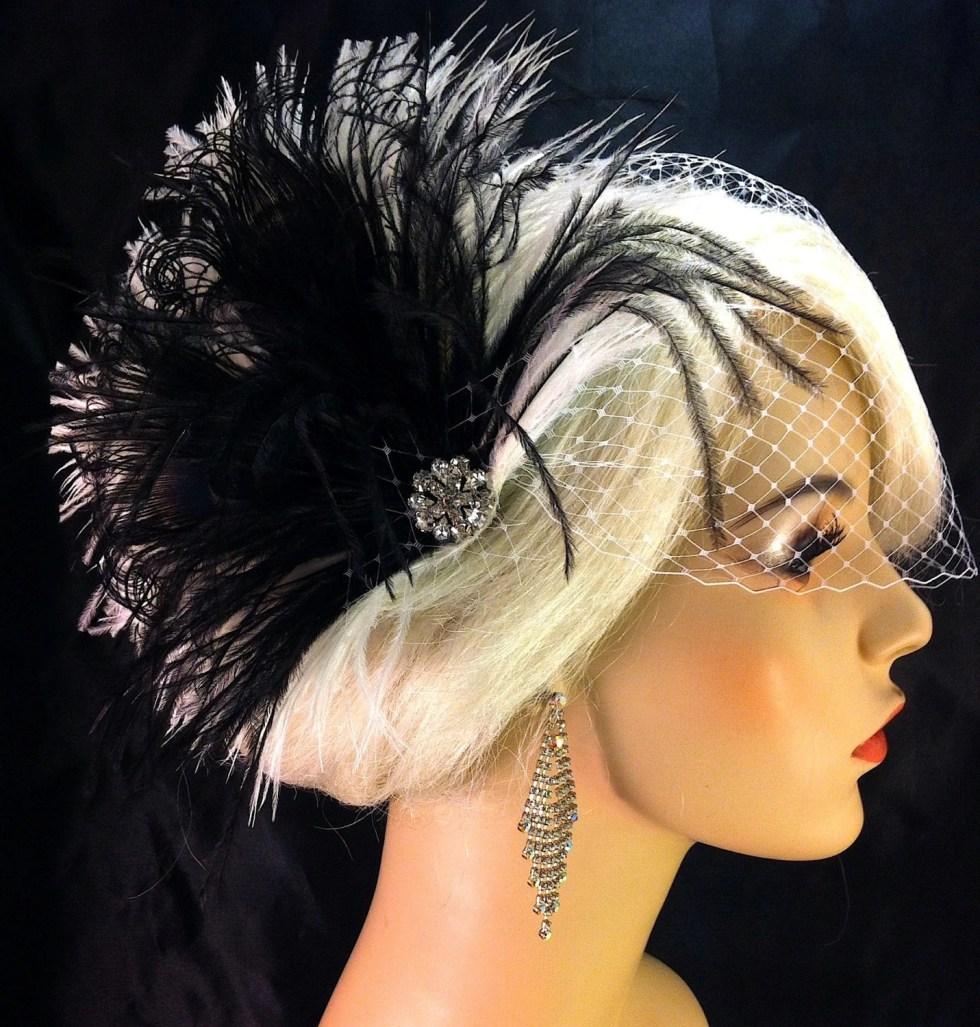 Bridal Fascinator, Feather Wedding Head Piece, Feather Fascinator, Bridal Hair Accessories, Bridal Veil Set, Gatsby Wedding, Great Gatsby
