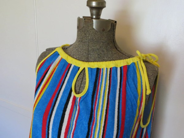 Vintage 70s Terry Cloth Sundress Beach Cover Vibrant