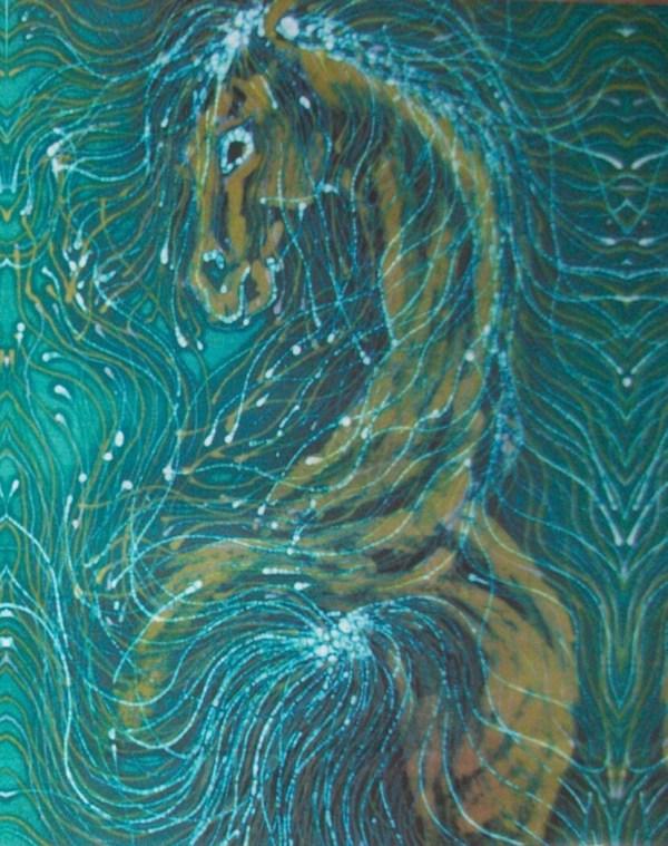 Horse Of Sea Green 8 X 10 Batik Fabric Debi
