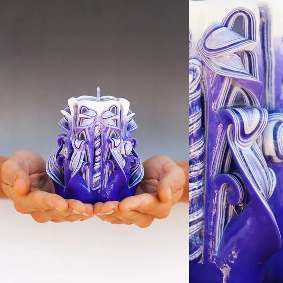 Unique hand carved purple candle
