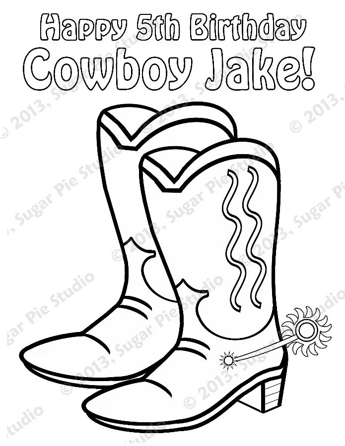 Personalized Printable Sheriff Cowboy Cowgirl Boots Birthday