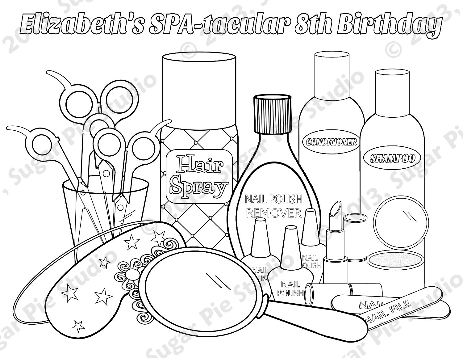 Personalized Printable Spa party Favor childrens by