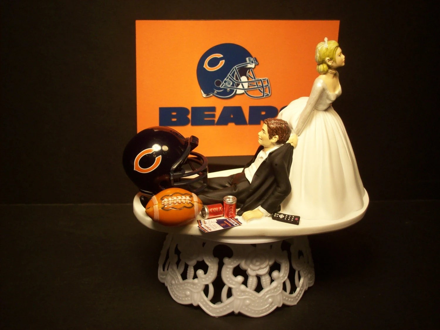 CHICAGO BEARS football wedding cake topper sports funny Grooms