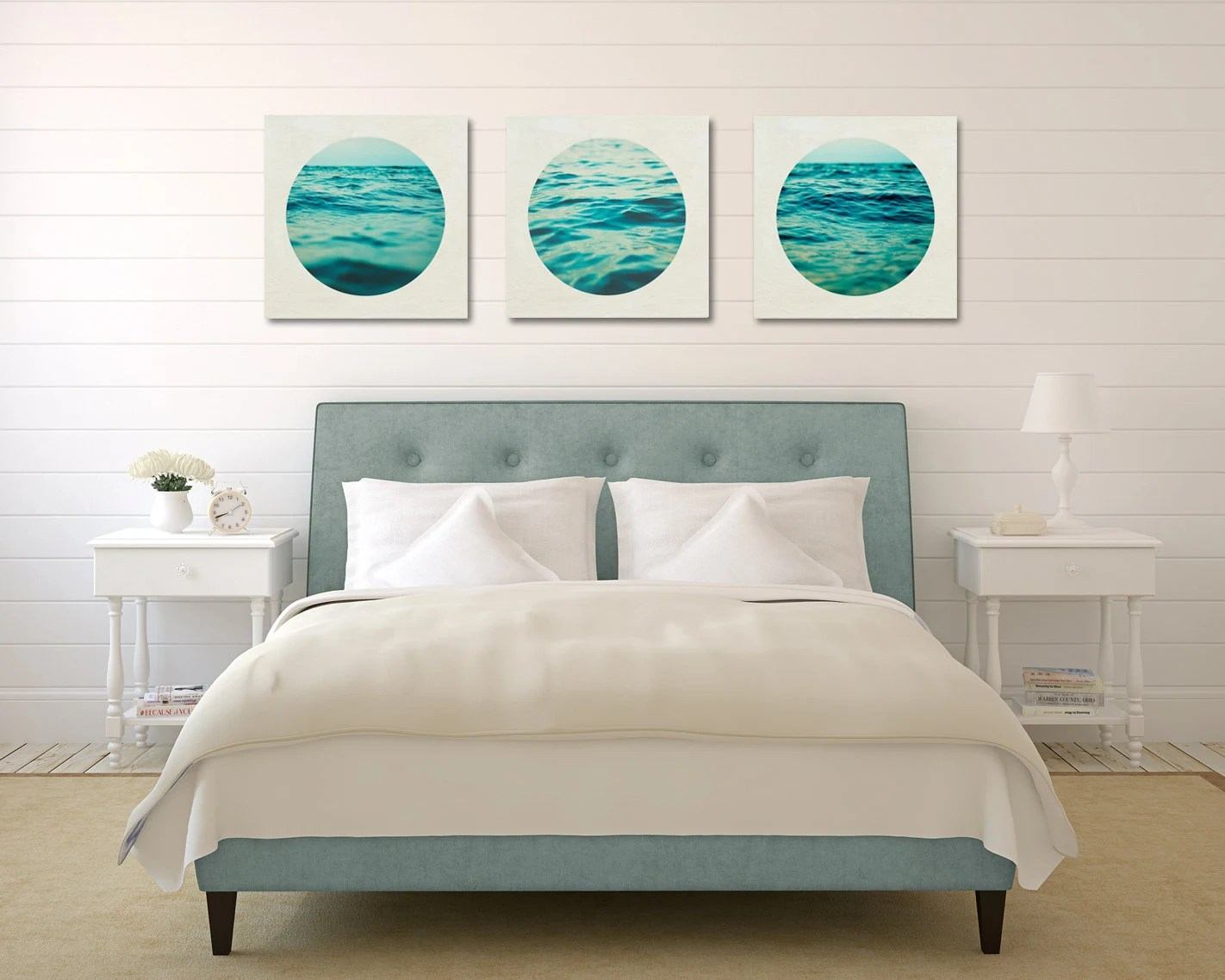 Aqua Wall Art Set Ocean Canvas Set Three Canvas Collection