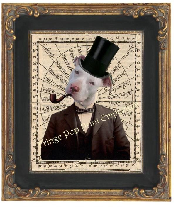 Victorian Pitbull Art Print 8 X 10 Steampunk Gentleman