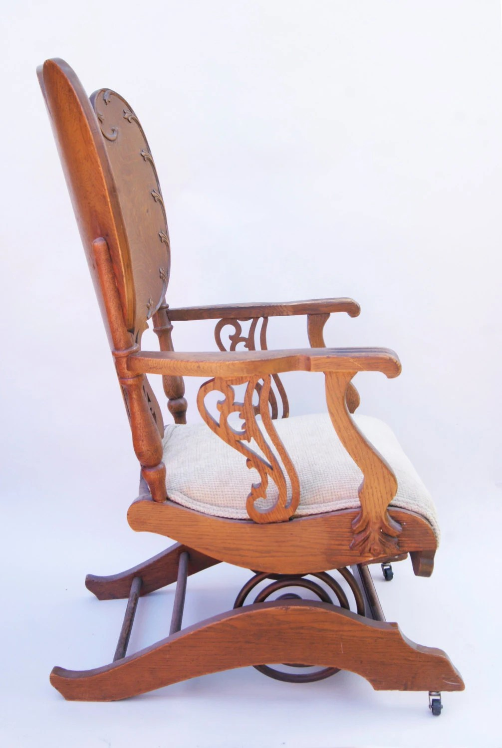 antique platform rocking chair with springs navy arm victorian carved oak wood coil rocker | ebay