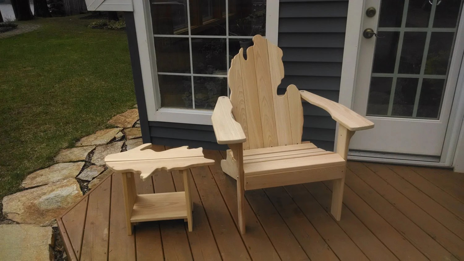 michigan adirondack chair banquet covers walmart with upper peninsula side table