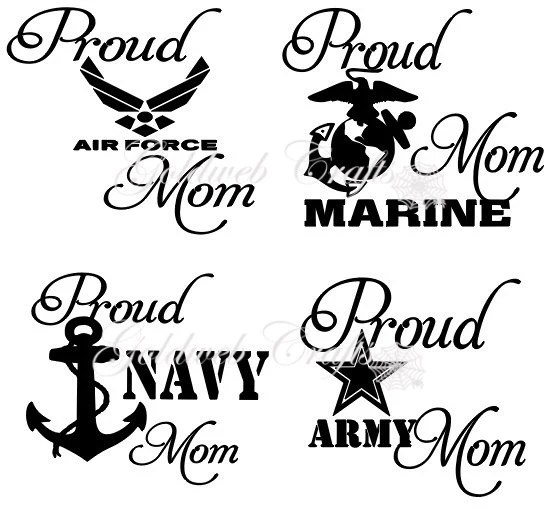 Proud Navy / Army / Air Force / Marine / Coast Guard Mom Car